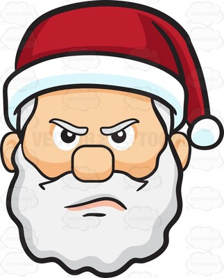 A mad face of Santa Claus